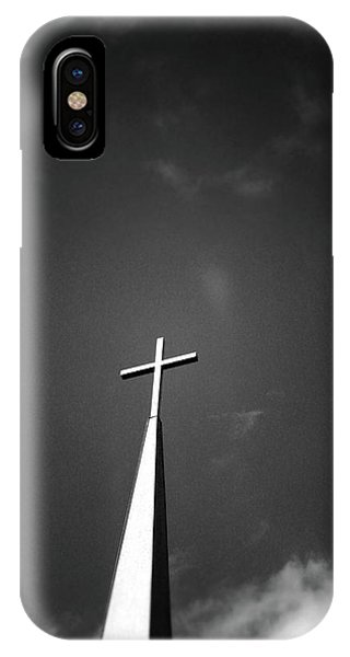 Christian Cross iPhone Case - Higher To Heaven - Black And White Photography By Linda Woods by Linda Woods