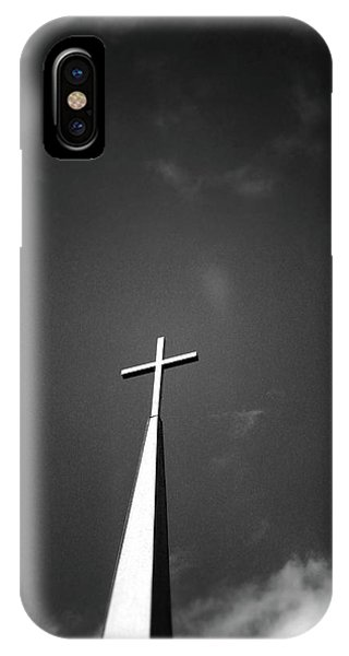 Cross iPhone X Case - Higher To Heaven - Black And White Photography By Linda Woods by Linda Woods