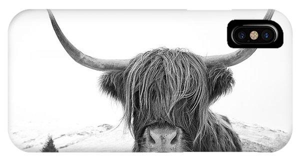Highland Cow Mono IPhone Case
