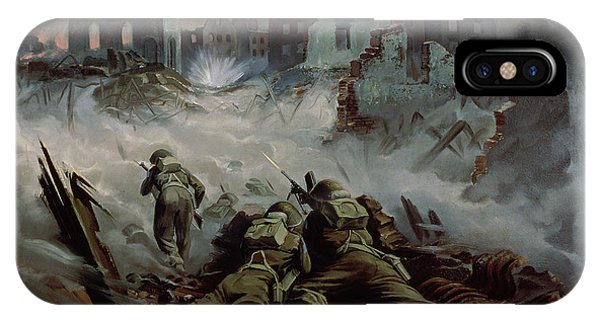 Shooting iPhone Case - Highlanders Advancing To Caen by Orville Norman Fisher