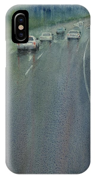 Highway On The Rain02 IPhone Case
