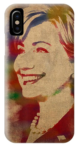 Hillary Clinton iPhone Case - Hillary Rodham Clinton Watercolor Portrait by Design Turnpike