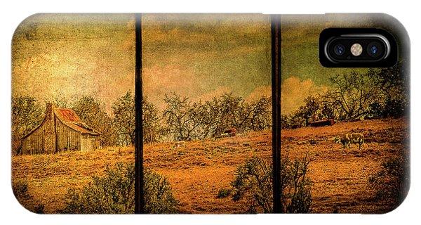 Hillside Farm Scene Triptych IPhone Case
