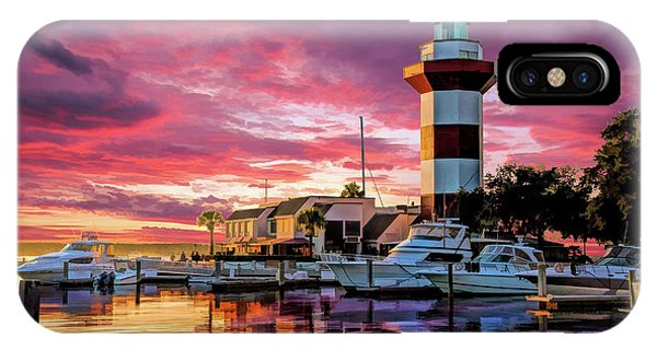 IPhone Case featuring the painting Hilton Head Harbour Town Lighthouse by Christopher Arndt