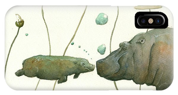 Day iPhone Case - Hippo Mom With Babyv by Juan Bosco