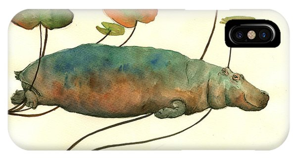 Hippo Swimming With Water Lilies IPhone Case