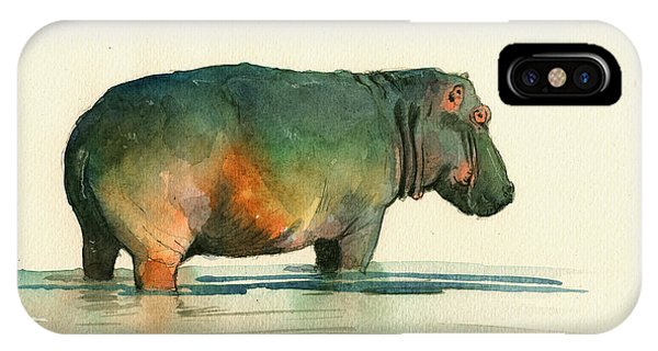 Safari iPhone Case - Hippo Watercolor Painting by Juan  Bosco