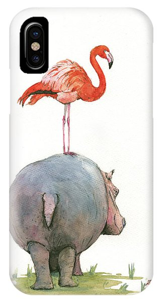 Bird iPhone Case - Hippo With Flamingo by Juan Bosco