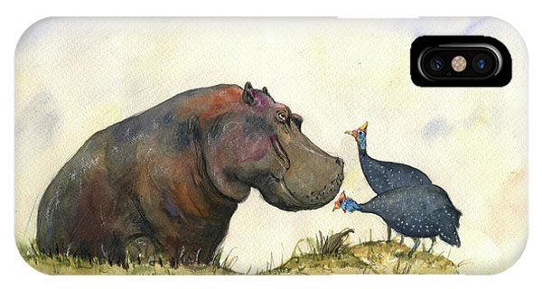 Fowl iPhone Case - Hippo With Guinea Fowls by Juan Bosco
