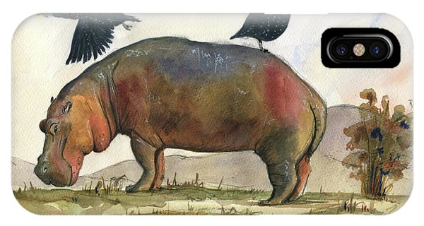 Fowl iPhone Case - Hippo With Guineafowls by Juan Bosco