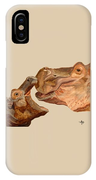 IPhone Case featuring the painting Hippos by Angeles M Pomata