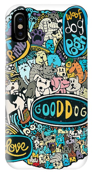 Good Humor iPhone Case - Hipster Doodles With Cute Dogs Background by Pakpong Pongatichat