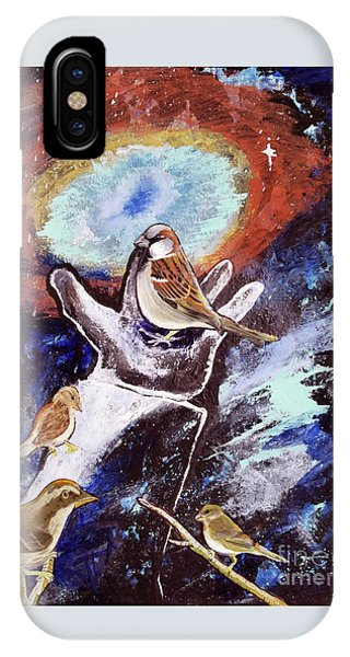 IPhone Case featuring the painting His Eye Is On The Sparrow by Jennifer Page