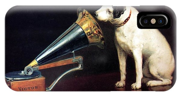 Advertising iPhone Case - His Master's Voice - Hmv - Dog And Gramophone - Vintage Advertising Poster by Studio Grafiikka