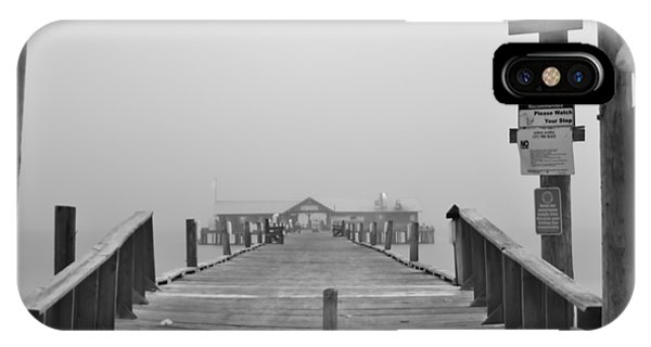 Historic Anna Maria City Pier In Fog Infrared 52 IPhone Case