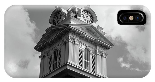 IPhone Case featuring the photograph Historic Courthouse Steeple In Bw by Doug Camara