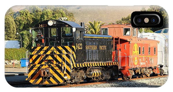 Red Caboose iPhone Case - Historic Niles Trains In California . Old Southern Pacific Locomotive And Sante Fe Caboose . 7d10821 by Wingsdomain Art and Photography