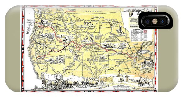 Historic Pioneer Trails Map 1843-1866 IPhone Case