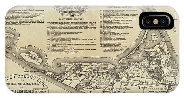 Historical Map Of Nantucket From 1602-1886 IPhone Case