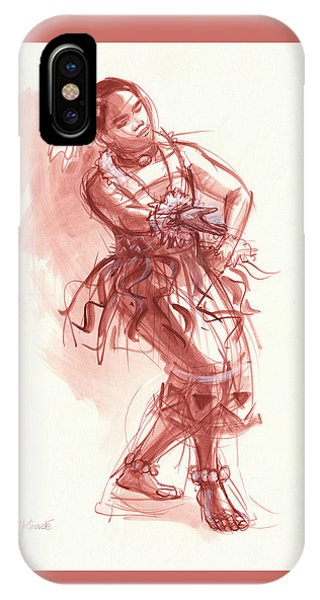 IPhone Case featuring the drawing Hiva, Dancer Of Tonga by Judith Kunzle