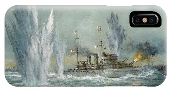 Hms Exeter Engaging In The Graf Spree At The Battle Of The River Plate IPhone Case