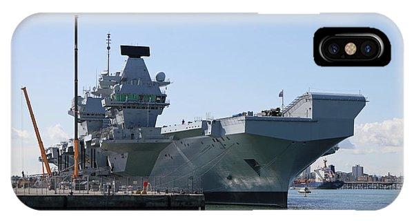 Hms Queen Elizabeth Aircraft Carrier At Portmouth Harbour IPhone Case