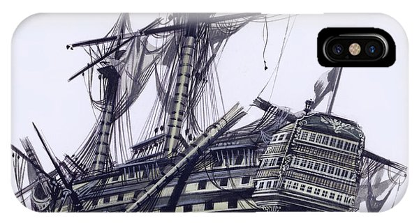Damage iPhone Case - Hms Victory After The Battle Of Trafalgar, With Mizzen Topmast Shot Away by Ron Embleton