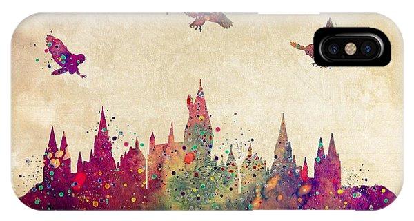 Castle iPhone Case - Hogwarts Castle Watercolor Art Print by Svetla Tancheva