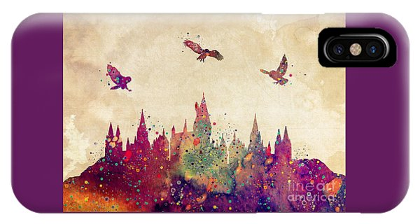 Wizard iPhone X / XS Case - Hogwarts Castle Watercolor Art Print by Svetla Tancheva