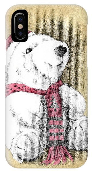 IPhone Case featuring the drawing Holiday Bear Card by Joe Winkler