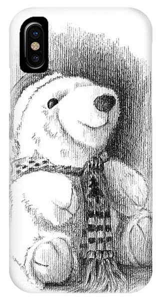IPhone Case featuring the drawing Holiday Bear by Joe Winkler