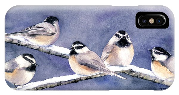 Holiday Chickadees IPhone Case