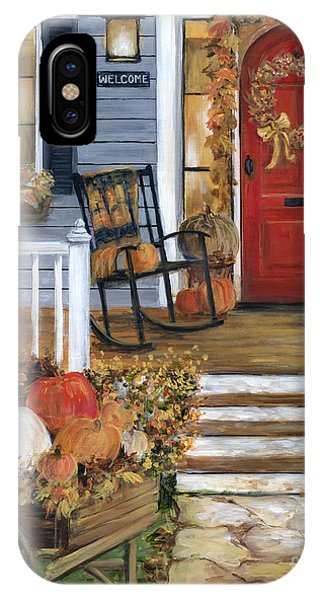 Porch iPhone Case - Pumpkin Porch by Marilyn Dunlap