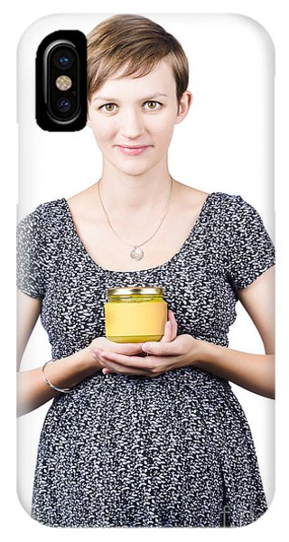 Endorsement iPhone Case - Holistic Naturopath Holding Jar Of Homemade Spread by Jorgo Photography - Wall Art Gallery