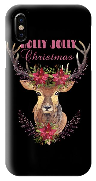 IPhone Case featuring the painting Holly Jolly Christmas Watercolor Deer Head Poinsettia Flowers by Georgeta Blanaru