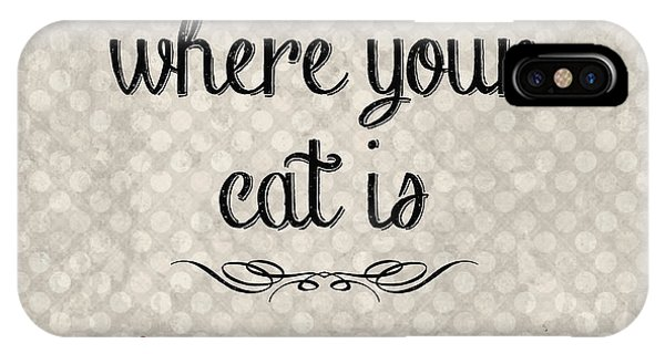 Cat iPhone X Case - Home Is Where Your Cat Is-jp3040 by Jean Plout