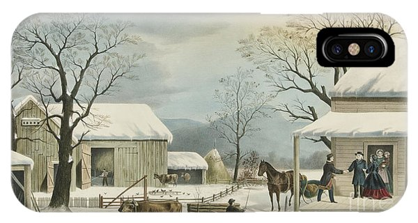 Barn Snow iPhone Case - Home To Home To Thanksgiving, 1867 by Currier and Ives