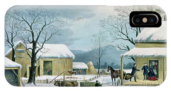 Barn Snow iPhone Case - Home To Thanksgiving by George Durrie