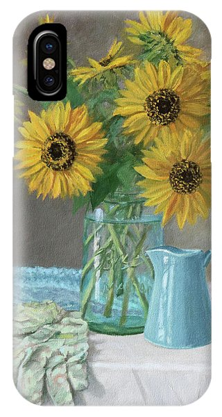 Homegrown - Sunflowers In A Mason Jar With Gardening Gloves And Blue Cream Pitcher IPhone Case