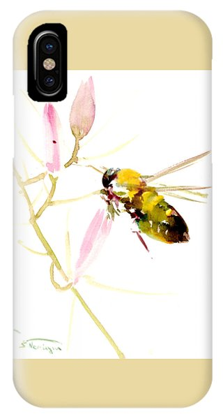 Honey Bee And Pink Flower IPhone Case