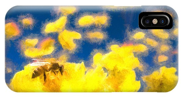 Honey Bee Mountain Daisy Impressionism Study 1 IPhone Case