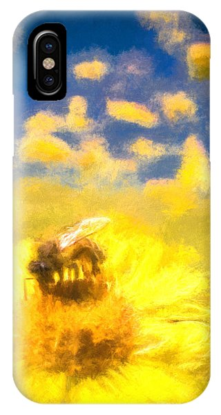 Honey Bee Mountain Daisy Impressionism Study 2 IPhone Case
