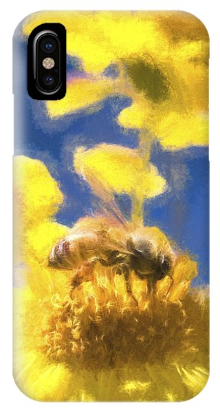 Honey Bee Mountain Daisy Impressionism Study 3 IPhone Case