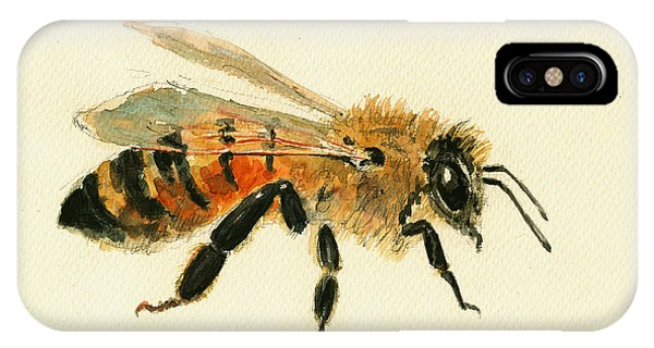 Bee iPhone X Case - Honey Bee Painting by Juan  Bosco