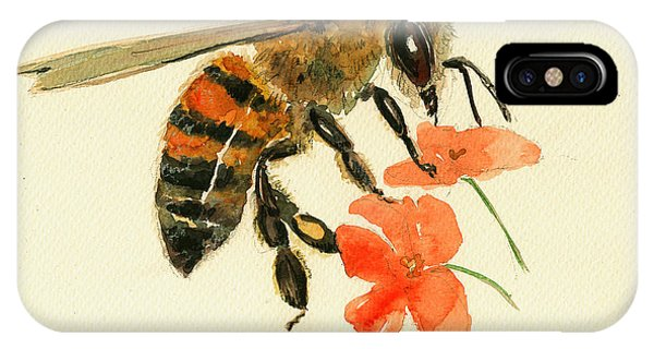 Insect iPhone Case - Honey Bee Watercolor Painting by Juan  Bosco