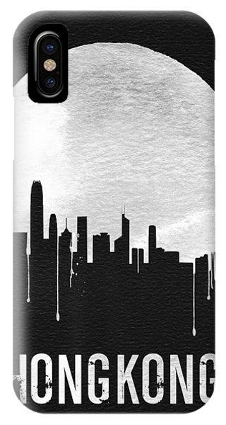 Moon iPhone X Case - Hong Kong Skyline Black by Naxart Studio