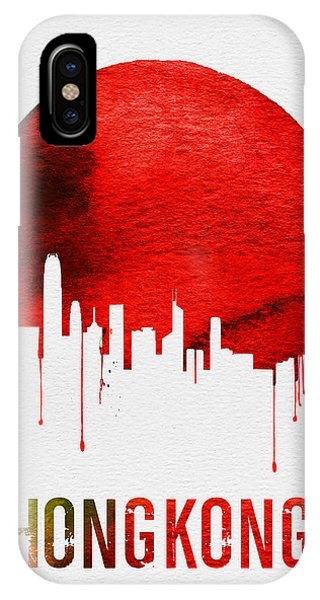 Hong Kong iPhone Case - Hong Kong Skyline Red by Naxart Studio