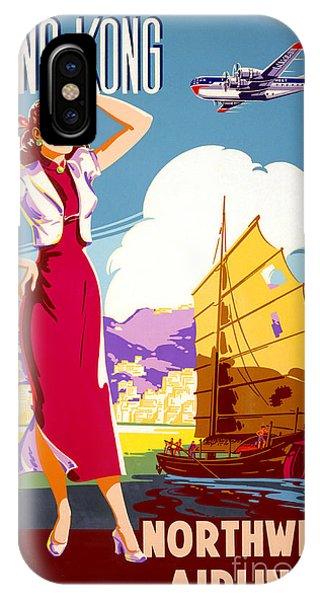 Hong Kong Vintage Travel Poster Restored IPhone Case
