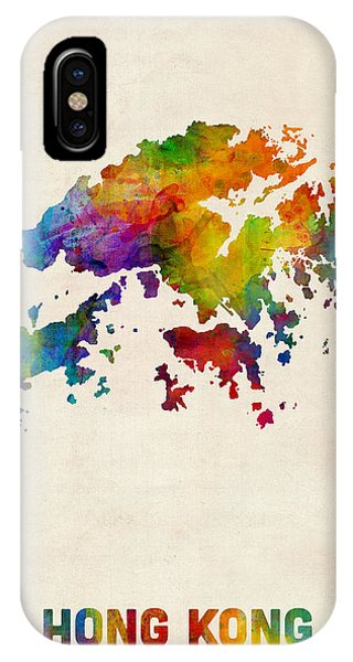 Hong Kong iPhone Case - Hong Kong Watercolor Map by Michael Tompsett