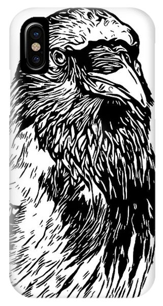Raven iPhone Case - Hooded Crow Line Art Woodcut Type Illustration by Philip Openshaw